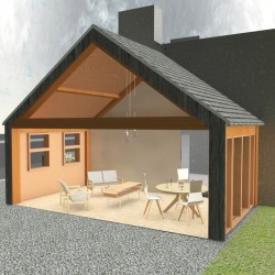 Open plan timber lounge extension.