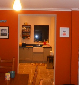 Kitchen and dining area view.