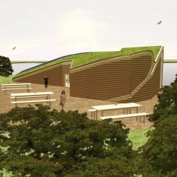 Organic shaped green roof building.